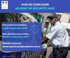 Recrutement de 10 adjoints de sécurité de la police nationale